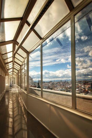 City seen through glass windows