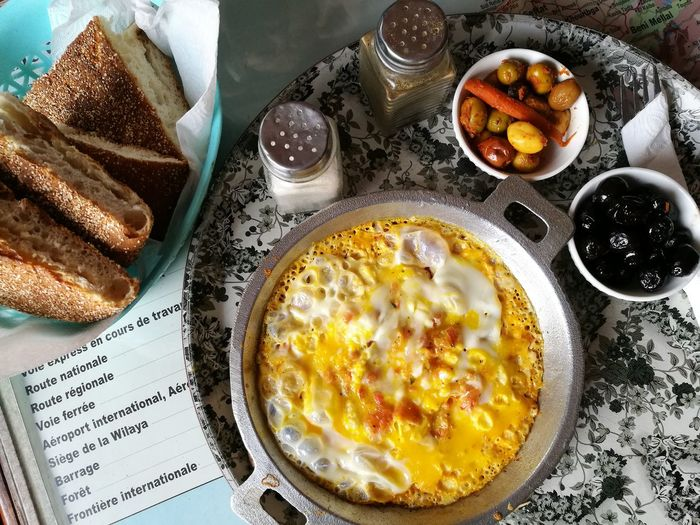 breakfast in Morocco Soonjourney MyWanderLust Morocco Africa Yummy Egg Yolk Plate Breakfast Table High Angle View Bowl Close-up Food And Drink Omelet Scrambled Eggs Toasted Bread Toast Sunny Side Up Continental Breakfast Served