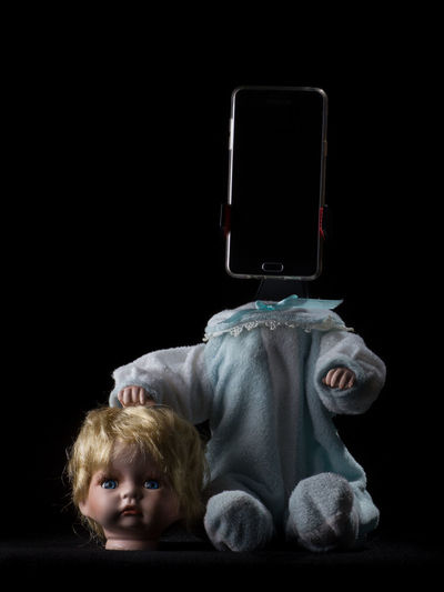 Doll Fear Black Background Dark Decapitated Disturbing Headshot Indoors  Smartphone Studio Shot Technology