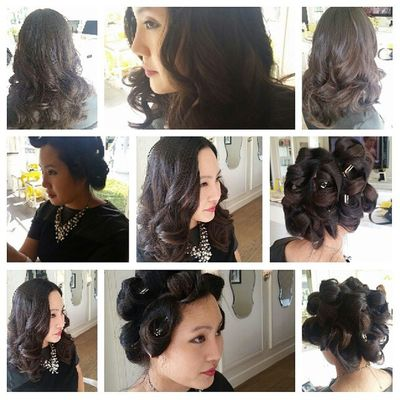 Stick straight hair. Rollers the curling iron. Lots of product... Beautiful hair Blowoutoftheday