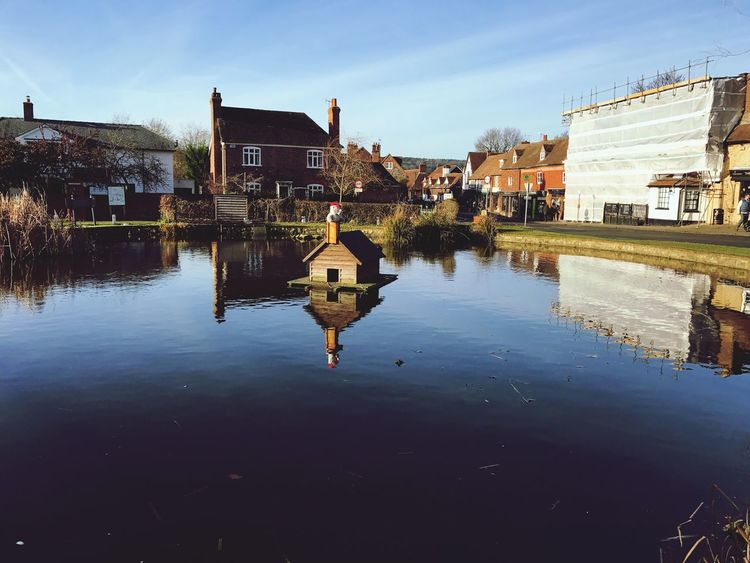 Otford Village Pond Reflection Water Building Exterior Sky Outdoors No People Nature Duck House