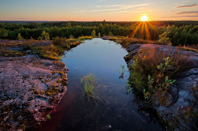 Sunset scene with a smalll pond on the hilltop on a beautuful summer evening in Finland. Beauty In Nature Day Dramatic Landscape Dramatic Sky Evening Sky Finland Idyllic Idyllic Scenery Landscape Nature No People Outdoors Peaceful Place Peaceful View Scenery Scenics Sky Summer Summertime Sunset Tranquil Scene Tranquility Tree