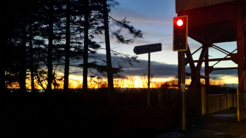 Sunset Waiting At The Traffic Light