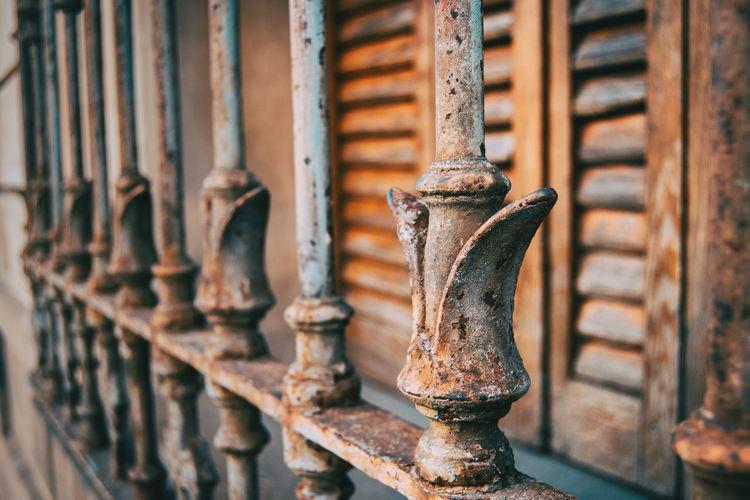 Close-up of rusty metallic railing