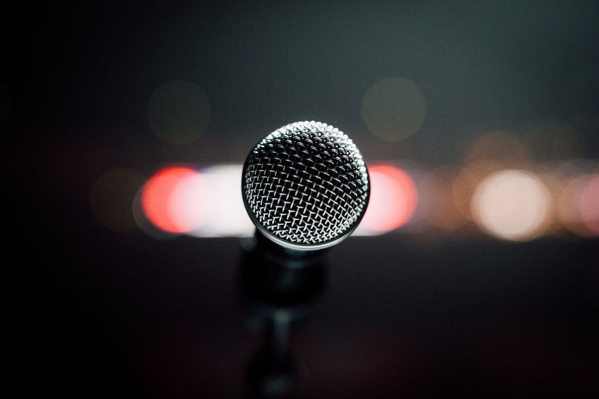 Arts Culture And Entertainment Close-up Focus On Foreground Illuminated Indoors  Microphone Microphone Stand Music No People Single Object Sound Recording Equipment Technology