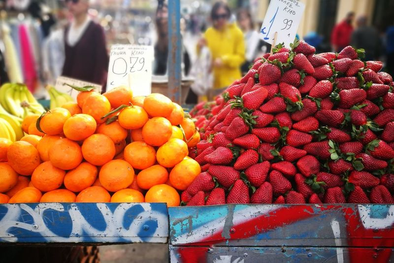 Sweet Oranges, Sour Strawberries Outdoors No People Healthy Eating Close-up Red Food And Drink Freshness No Filter