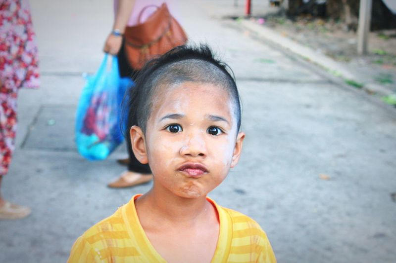 young girl Local Town Local People Thailand EyeEm Selects Portrait Child Childhood Looking At Camera Holi Human Face Close-up One Baby Girl Only Babyhood Unknown Gender Baby Boys Innocence