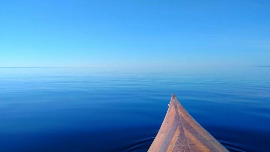 TCPM Water Blue Sea Wood - Material No People Tranquil Scene Tranquility Scenics Outdoors Nautical Vessel Nature Day Horizon Over Water Beauty In Nature Landscape Sky EyeEm Best Shots EyeEm Gallery Eye4photography  Kayak Eye4photography