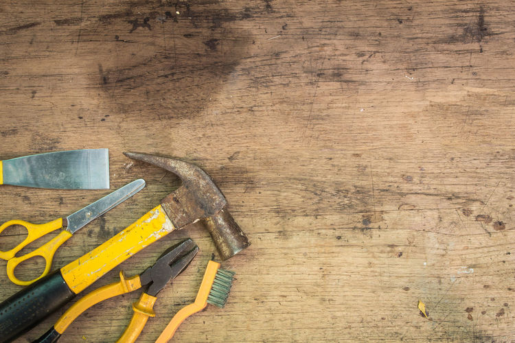 Working tools on a wooden background. Antique Objects Old Construction Renovation Work Brown Building Close Up Concept Design Equipment Group Handyman Shop Tools Vintage Women Wooden World Wrench