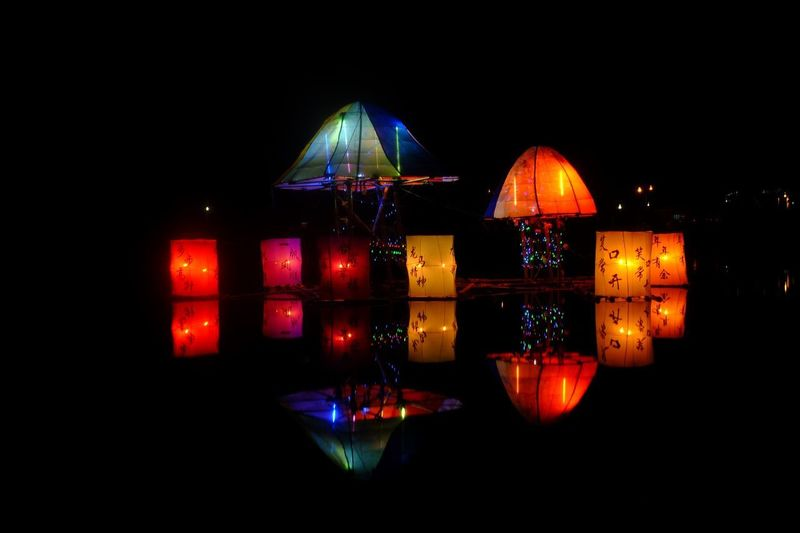 Lentern Illuminated Night Lighting Equipment No People Celebration Multi Colored Sky Decoration Architecture Built Structure Dark Nature Outdoors Building Exterior Traditional Festival Nightlife Copy Space Clear Sky Lantern Holiday