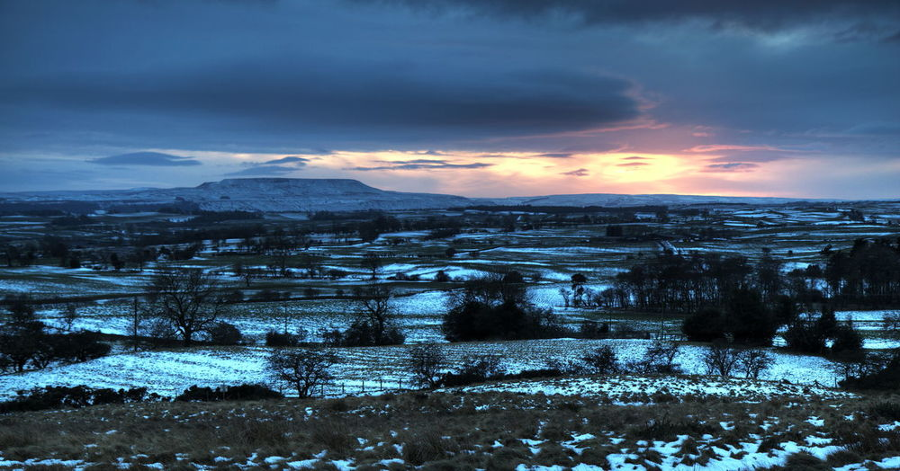 Clouds Cold Landscape Penhill Snow Sunset Wensleydale Winter Yorkshire Dales
