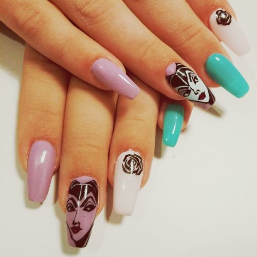 My new nails, wanted to be creative. Nails Purple Green Cartoon