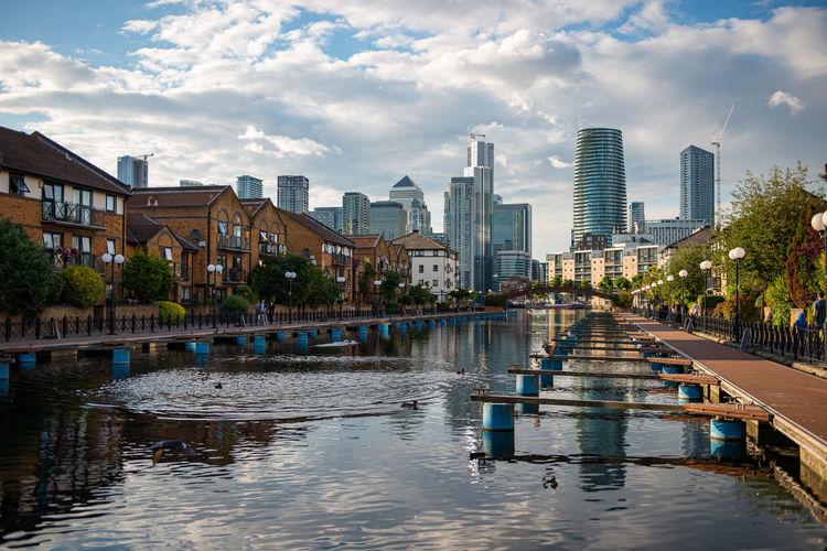 Millwall lower docks cityscape