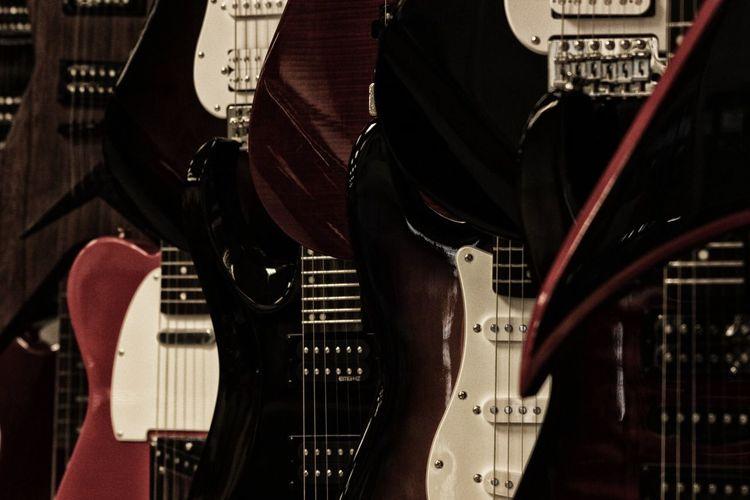 Full frame shot of guitars for sale
