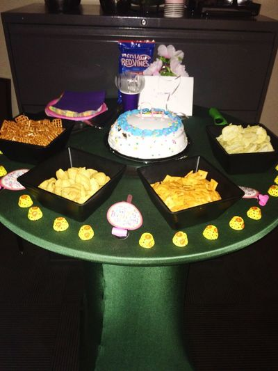 Birthday spread at work Birthday Party Birthday Cake Pretty Things I Like 2018 Food And Drink Table No People Freshness Food Multi Colored Still Life Sweet Food High Angle View Indoors  Celebration Indulgence Text Close-up Sweet Decoration Variation Flower Ready-to-eat Temptation