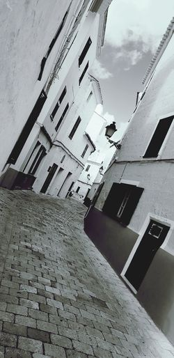 Old Street in Menorca.. Old Buildings Cobbled Streets Sky Architecture Building Exterior Built Structure