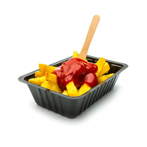 Belgium fries with Ketchup Belgium Fries Fast Food Fork Fries Netherlands Snack Wood Bowl Chips Germany Golden Fries Healthy Eating Isolated White Background Ketchup Plastic Potatoes Ready-to-eat Sauce Shell Studio Shot Sweet Food Tomato White Background Yummy