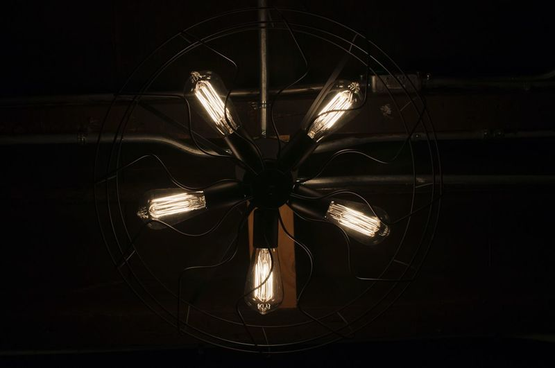 Light. Fan. Darkness. Lighting Equipment Electricity  Illuminated Technology Light Bulb Indoors  No People Filament Close-up Modern Darkroom Night Fan Fixture