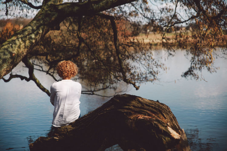 Rear View Of Woman Sitting On Fallen Tree In Front Of Lake