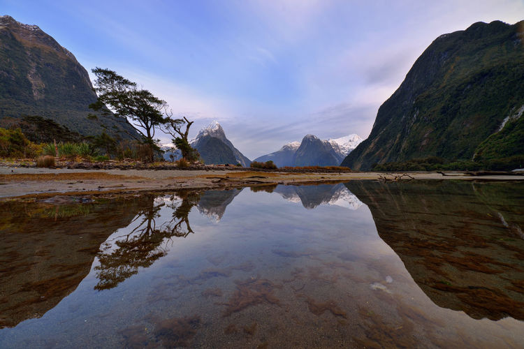 Beautiful sunset, Milford Sound Arrival Beauty Cloud - Sky Lake Landscape Mountain Nature No People Outdoors Reflection Reflection Lake Sky Space Tree Water