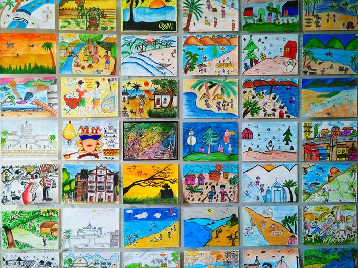 Beautifully colored postcards by school children put up for display at Serendipity Arts Festival Goa 2016. Multi Colored Full Frame No People Postcards School Children Schooldays Memories Memories Tiles Creativity Art ArtWork Drawings Kids Post Postcard Post Goa Choice Childhood Simple Picture Postcard Ideas Exhibit  Exhibition Different