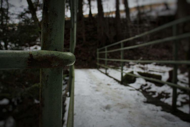 Rusty Railing Close-up Footbridge Snow Covered Bridge Bridge - Man Made Structure Snow