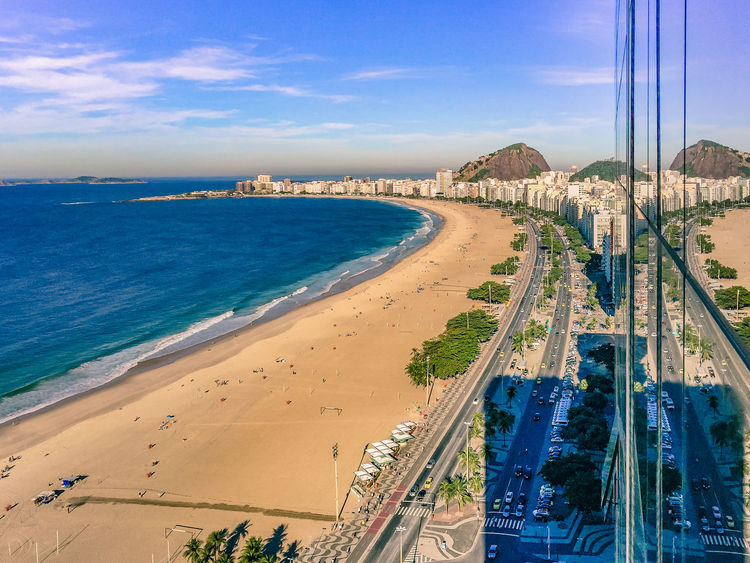Beach City Cityscape Copacabana Beach Horizon Over Water No People Reflection Reflections And Shadows Rio De Janeiro Scenics Sea Travel Destinations Urban Skyline Vacations