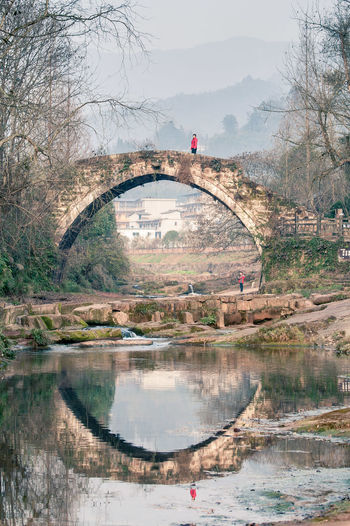 Arch Bridge Reflecting On River