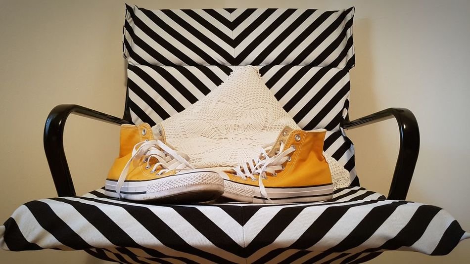 Paint The Town Yellow No People Yellow Shoes ♥ Stripes Pattern Lace Textile Pattern, Texture, Shape And Form Chair