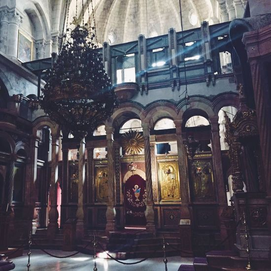 Inside of Church of the Holy Sepulchre. Jerusalem, Israel Architecture Arch History Place Of Worship Built Structure Full Length Religion Spirituality Indoors  Day One Person Building Exterior People Adults Only Adult Israel Jerusalem