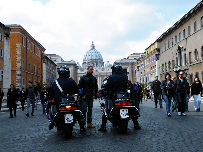 Adult Adults Only Architecture City City Gate City Street Day Italy Law Motorcycle Outdoors People Police Bike Police Car Police Station Policia Roma Sky Vatican Vatican City The Photojournalist - 2017 EyeEm Awards