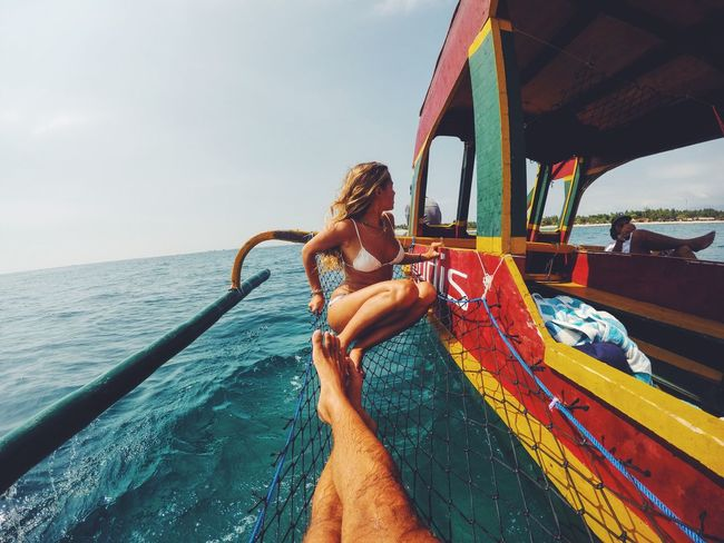 Sailing between islands in the Jukung , Balinese boat dive 🌴⚓️ Sea Water Boat Gopro Paradise Sailing Ocean Bali INDONESIA Gili Islands Blonde Beatiful Girlfriend