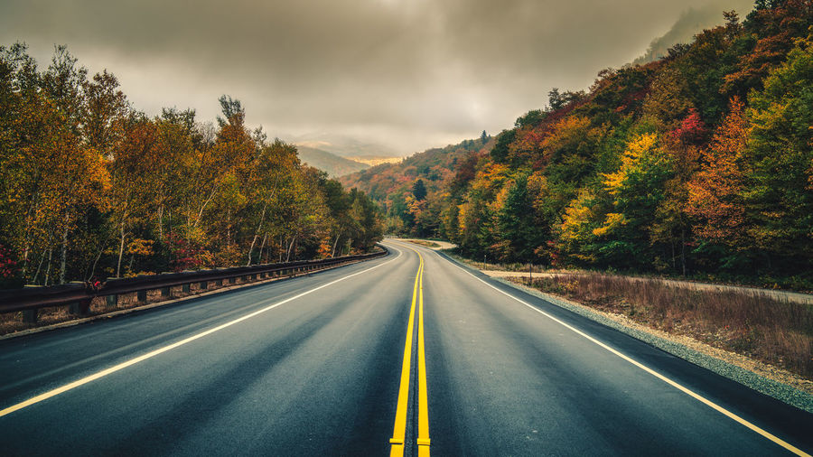 Rural road in New Hampshire. Road Tree The Way Forward Symbol Direction Transportation Marking Autumn Road Marking No People Sign Plant Nature Change Sky Cloud - Sky Double Yellow Line Beauty In Nature Scenics - Nature Diminishing Perspective Outdoors Dividing Line