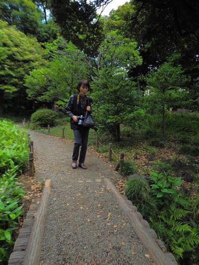 ニコンを持ったカメラ女子。 One Person Tree Walking Camera Day Leisure Activity Old Lady Garden Garden Photography Japan Photography Olympus OM-D E-M5 Mk.II 抜かりはない😤