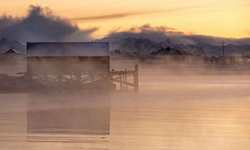 Norway Architecture Arctic Beauty In Nature Built Structure Cold Temperature Day Fog Landscape Mist Nature No People Outdoors Sky Sunset Winter Capture Tomorrow