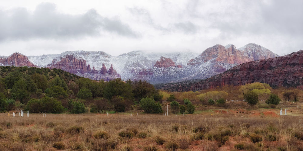 Sedona, Arizona Beauty In Nature Blizzard Climate Cloud - Sky Day Environment Field Formation Grass Landscape Mountain Mountain Peak Mountain Range Nature No People Non-urban Scene Outdoors Scenics - Nature Snow Tranquil Scene Tranquility Tree