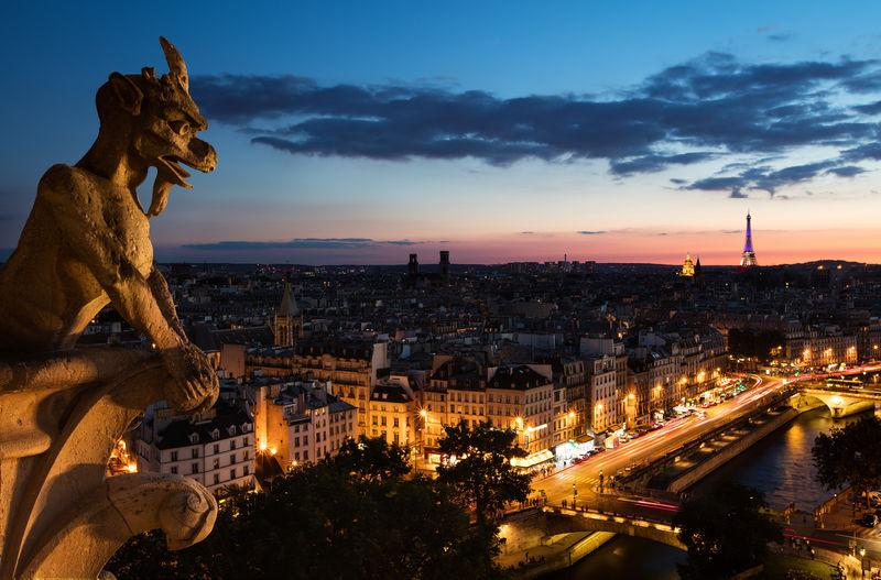 Cityscape Of Paris At Dusk