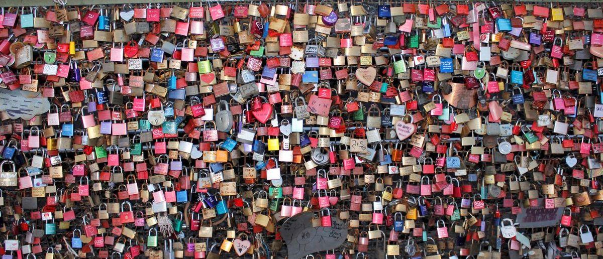 Full frame shot of colorful padlocks