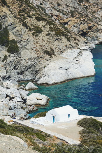 Greek church Church Greek Church Amorgos Beauty In Nature Churches Cliff Day Greece High Angle View Mountain Nature No People Outdoors Rock - Object Rock Formation Scenics Sea Sky Tranquil Scene Tranquility Water