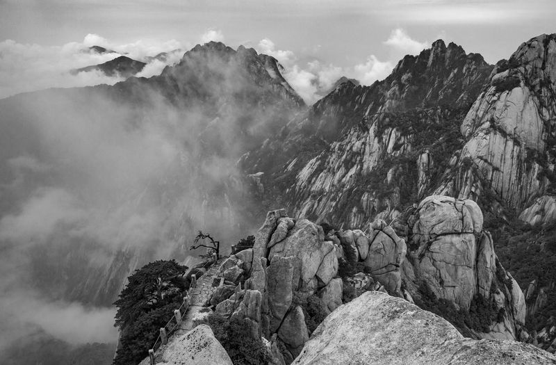 Geology Rock Rock - Object Solid Scenics - Nature Beauty In Nature Mountain Tranquil Scene Mountain Range Tranquility Non-urban Scene Sky Nature Rock Formation No People Cloud - Sky Day Environment Physical Geography Outdoors Formation Mountain Peak Eroded Huangshan Blackandwhite