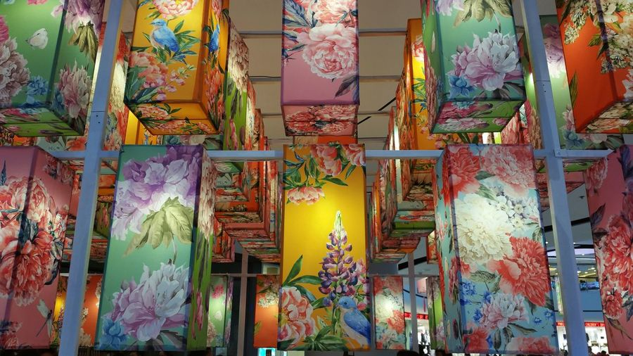 Colorful fabric lantern. Abundance Art Art And Craft ASIA Colorful Culture Cultures Day Decoretion Design Fabric Fabric Lantern Festival Indoors  Lantern Large Group Of Objects Lighting Multi Colored Night No People Red Tradition Variation Yellow