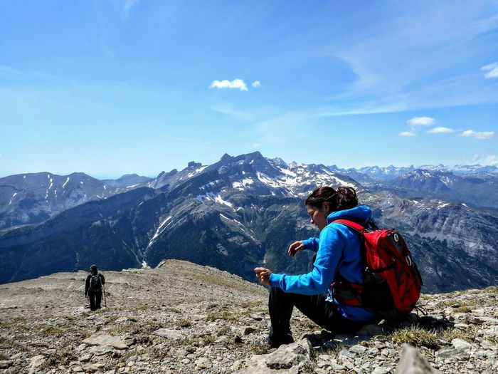 Huesca Mountain Paradise Pirineos Enjoying Life Mountain Landscape Exploring Beatiful Nature Adventure Sports The Word Is Beautiful! Trekking Mountain Sitting Women Adventure Hiker Hiking Explorer Mountain Peak