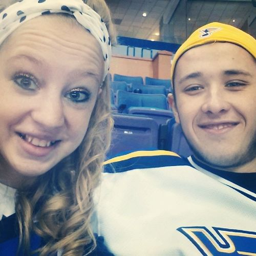 At the blues game with my boy:) Blues Playoffs Like Follow sport hockey boyfriend iloveyou selfie Saturday cold chilly letsgo