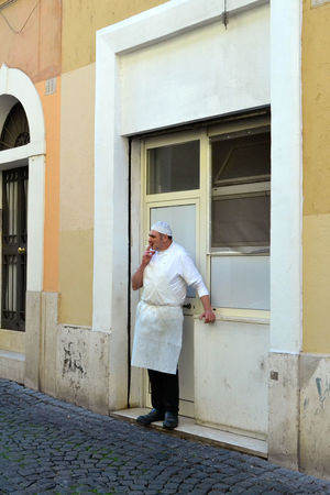 StreetsOfRomE Streetsofitaly Streetphotography Street Photography Chef Cheflife Italy Break Cigarette Time Pizzamaker Outdoors People