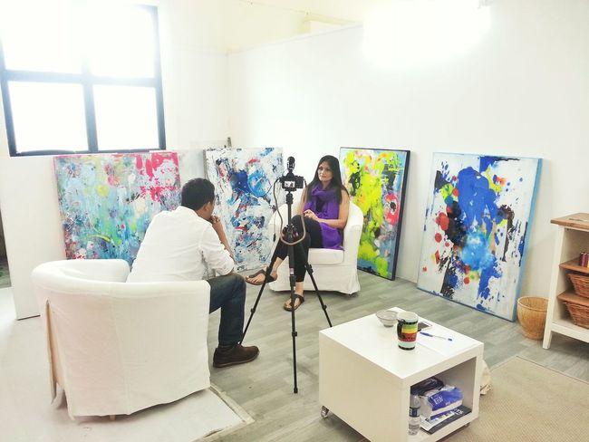 Interview People Working Art Gallery