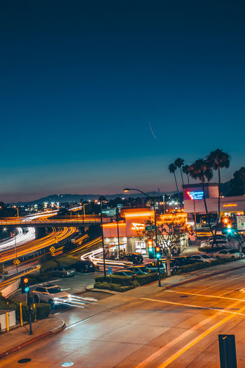 Nightphotography Orange Architecture Blue Blurred Motion Building Exterior Built Structure City Cityscape Copy Space Illuminated Light Trail Long Exposure Longexposure Mode Of Transportation Motion Nature Night No People Outdoors Road Sky Speed Street Transportation