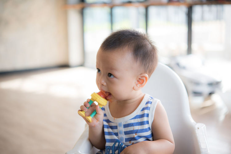 Child Childhood Innocence Cute Real People One Person Baby Eating Indoors  Focus On Foreground Young Babyhood Food Portrait Looking Holding Food And Drink Lifestyles Men Front View