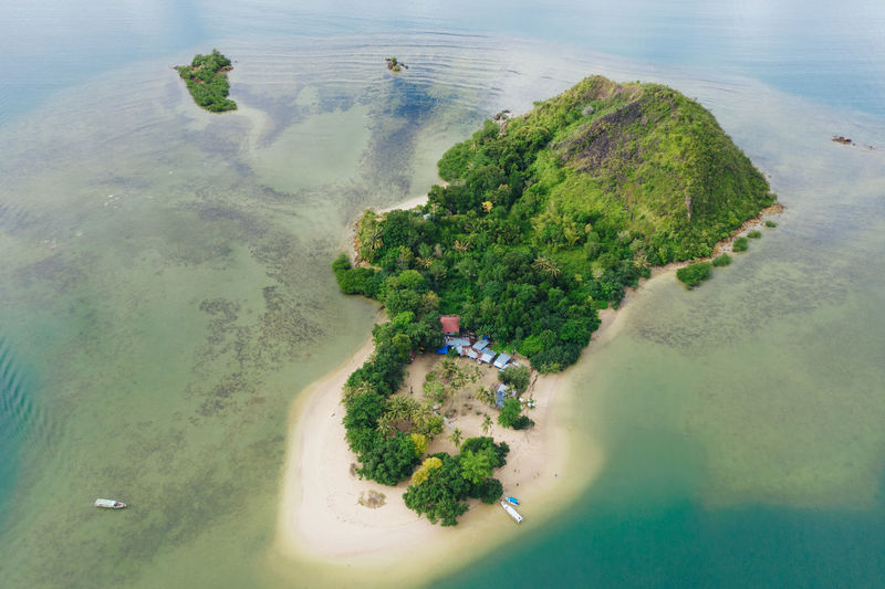 Aerial view of island in sumatera