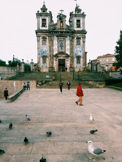 Church Porto Portugal Tourist Travel Architecture Building Building Exterior Built Structure Church Architecture City People Seagull Street Street Photography Streetphotography Tourism Town Townsquare Travel Destinations