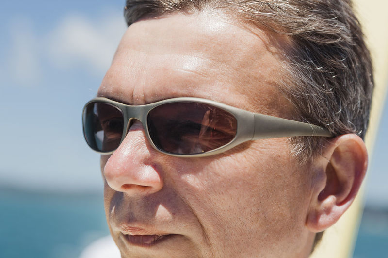 Close-Up Of Mature Man Wearing Sunglasses